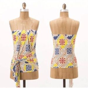 Anthropologie Ric Rac Strapless Floral Print Top